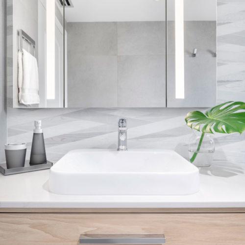 vanity with vessel sink and medicine cabinet